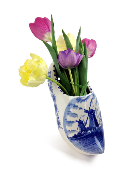 Large Single Ceramic Ornamental Delft Wooden Shoe - DutchGiftOutlet.com