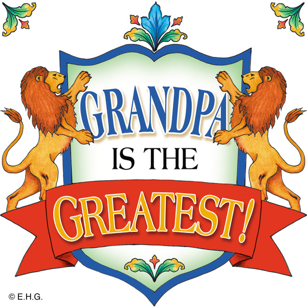 "Gift for Grandpa ""Grandpa Is The Greatest"" Tile - 1 - OktoberfestHaus.com"