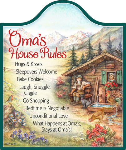 "Gift for Oma ""Oma's House Rules"" Ceramic Cheeseboard - 1 - OktoberfestHaus.com"