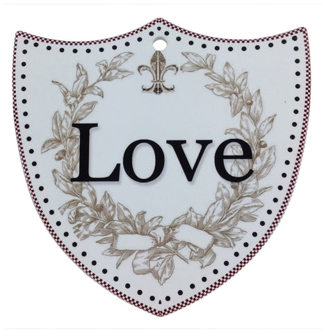 Ceramic Decoration Shield: Love - OktoberfestHaus.com  - 1