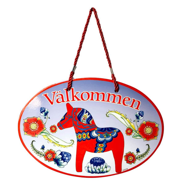 Door Signs: Valkommen Red Dala Horse Ceramic