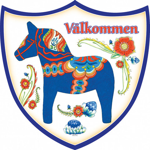 Ceramic Decoration Shield: Blue Dala Horse - OktoberfestHaus.com  - 1