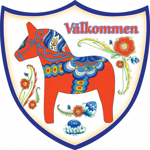 Ceramic Decoration Shield: Red Dala Horse - OktoberfestHaus.com  - 1