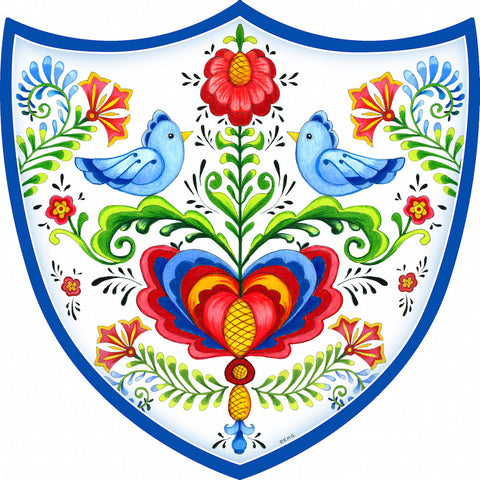 Ceramic Decoration Shield: Lovebirds - OktoberfestHaus.com  - 1