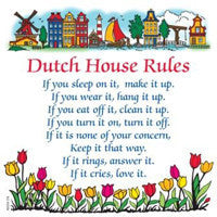 Decorative Wall Plaque: Dutch House Rules.. - OktoberfestHaus.com  - 1