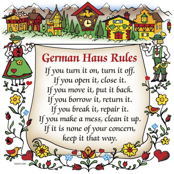 "German Gift Ceramic Wall Hanging Tile: ""German Haus Rules"" - OktoberfestHaus.com  - 1"