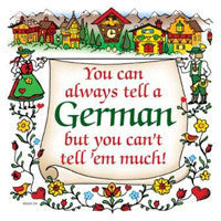 German Gift Ceramic Wall Hanging Tile: Tell A German - OktoberfestHaus.com  - 1