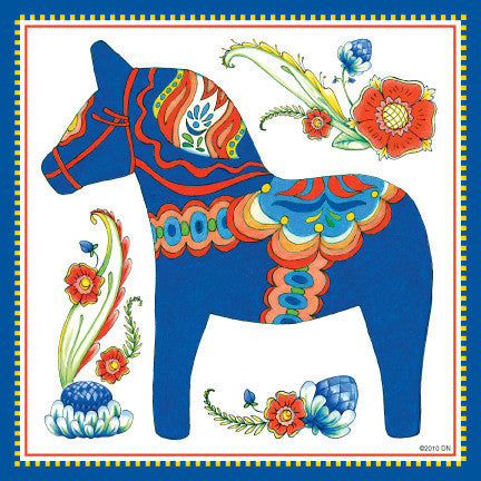 Wall Tile Design Blue Swedish Dala Horse - OktoberfestHaus.com