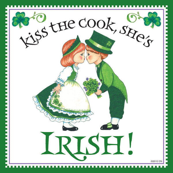 "Irish Gift Tile ""Kiss Irish Cook"" - OktoberfestHaus.com  - 1"