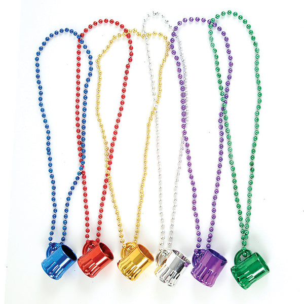 Metallic Colored Plastic Beer Mugs Necklace (12 pack) - OktoberfestHaus.com