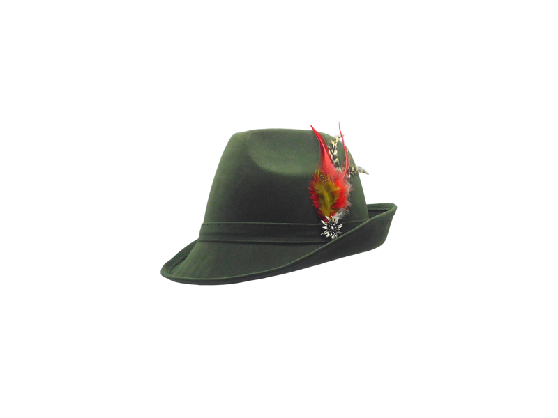 """German Hunter"" Green Hat Fedora And Edelweiss & Feather - OktoberfestHaus.com"