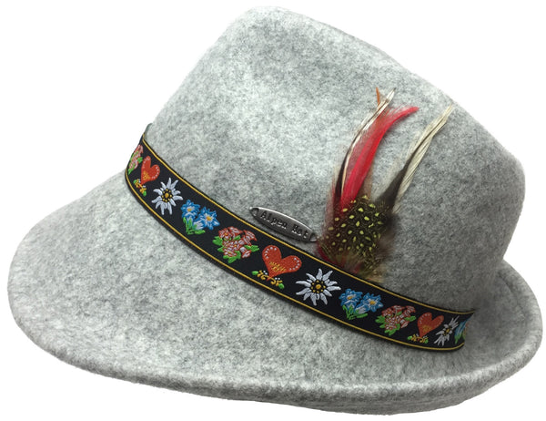 Alpine Wool Gray Hat with Embroidered Band - OktoberfestHaus.com  - 1