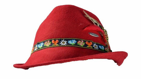 Tyrolean Alps Red 100% Wool Hat with Embroidered Band - OktoberfestHaus.com