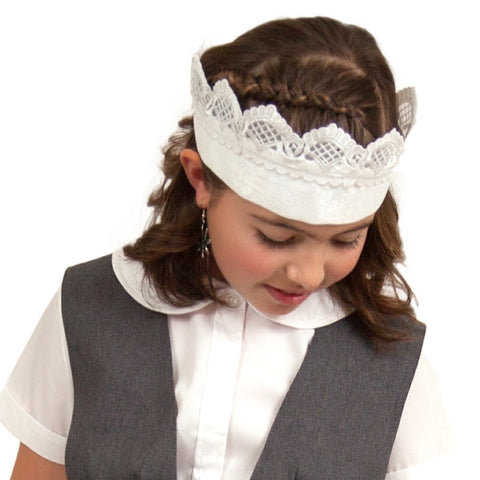 """Maid Costume"" White Lace Headband and Youth (2yr-8yr) Ecru (Off White) Full Lace Apron Costume Set - OktoberfestHaus.com  - 1"