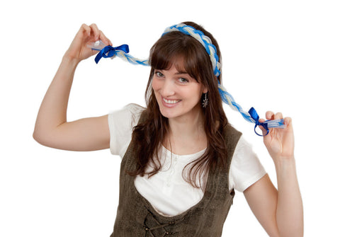 Oktoberfest Costume Braids With Functioning Blinking Lights Blue - OktoberfestHaus.com