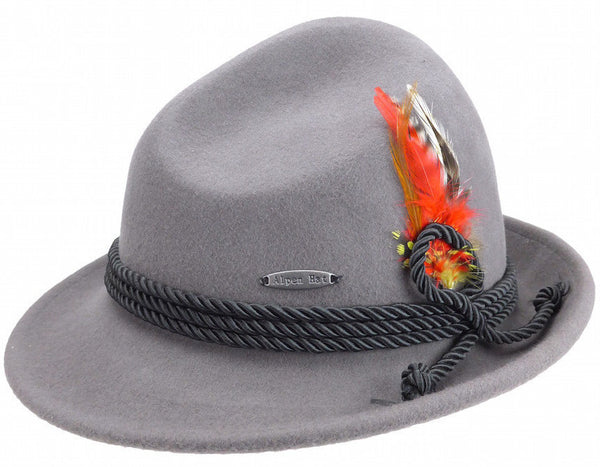 German Bavarian Style Gray 100% Wool Hat - OktoberfestHaus.com  - 1