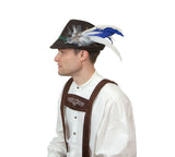 Oktoberfest Hat Feather Edelweiss Blue & White Hat Pin - OktoberfestHaus.com