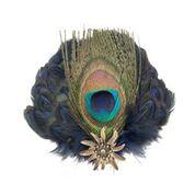 Deluxe Peacock & Blue Hat Feathers Metal Hat Pin