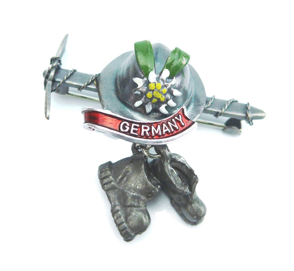 German Hat Pin: Ice Axe & Hiking Boots - OktoberfestHaus.com