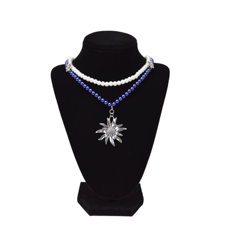 Blue & White Pearl German Costume Edelweiss Necklace -1- OktoberfestHaus.com -