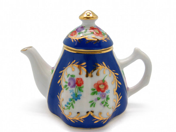 Vintage Victorian Antique Tea Pot Jewelry Box Royal Blue - OktoberfestHaus.com  - 1