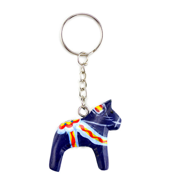 Dala Horse Key Ring Blue