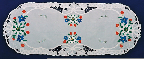 "Lace Applique Linens German Edelweiss Table Runner 18""x45"" - OktoberfestHaus.com  - 1"