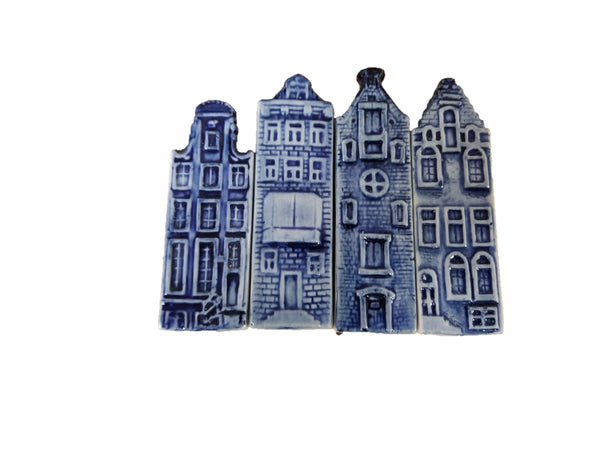 Dutch Wedding Favor Delft Canal Houses Magnet - 1