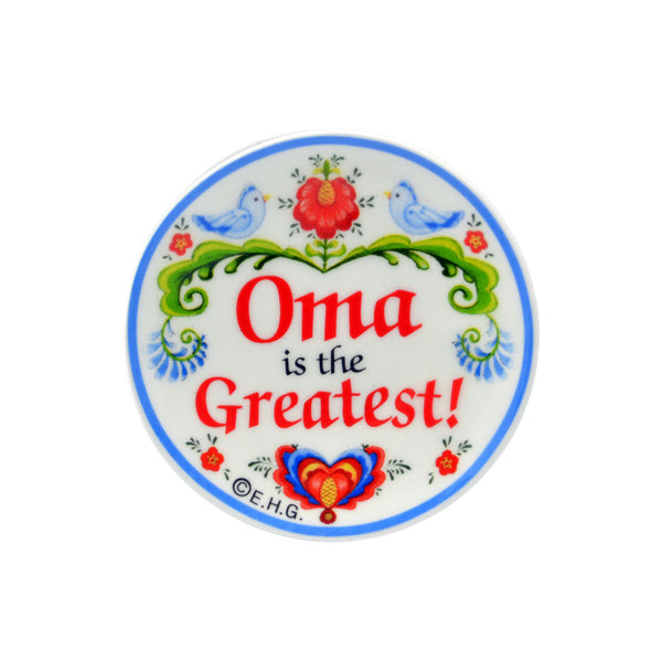 """Oma is the Greatest"" with Birds design Magnet Plate - OktoberfestHaus.com"