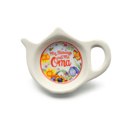 """My Blessings Call Me Oma"" Teapot Magnet with Flower Design  - OktoberfestHaus.com"