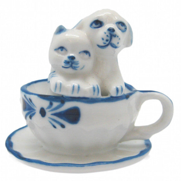 Porcelain Miniatures Animal Delft Dog In Cup - OktoberfestHaus.com  - 1