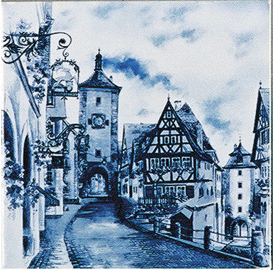 German Souvenir Rothenberg Fridge Blue Tile Magnet - OktoberfestHaus.com  - 1