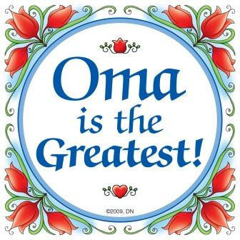 """Oma is the Greatest"" Magnet Tile with Birds Design  - OktoberfestHaus.com"