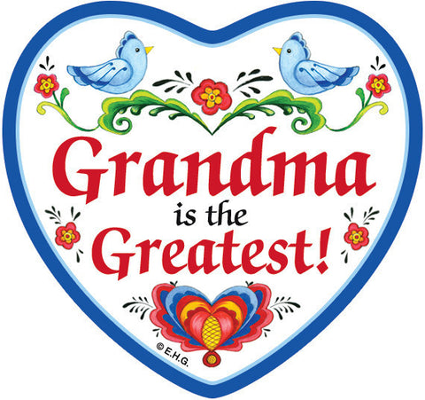 "Magnetic Heart Tile  ""Grandma Is The Greatest"" - DutchGiftOutlet"