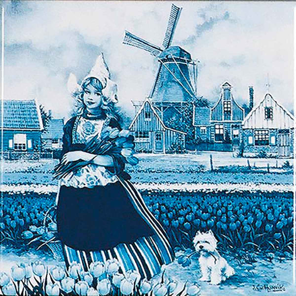 Tulip Time Dutch Girl Delft Magnet Tile