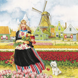 Tulip Time Girl Color Magnet Tile - OktoberfestHaus.com  - 1