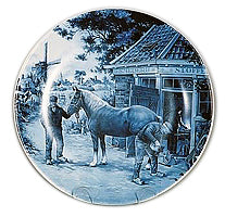 Collectible Plate Blacksmith Blue