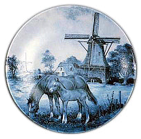 Collectible Plate Horse and Colt Blue