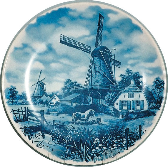 Collectible Plate Mill with Pony Blue - DutchGiftOutlet.com