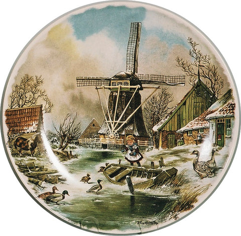 Collectible Plate Winter Scene Color - DutchGiftOutlet.com