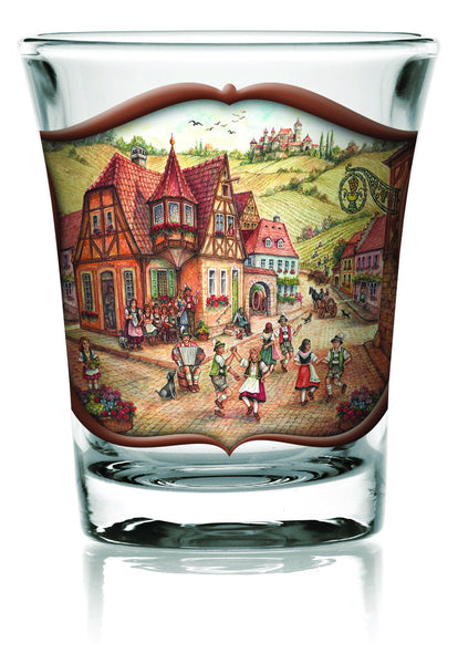 German Shot Glass Village Dancers Clear - OktoberfestHaus.com