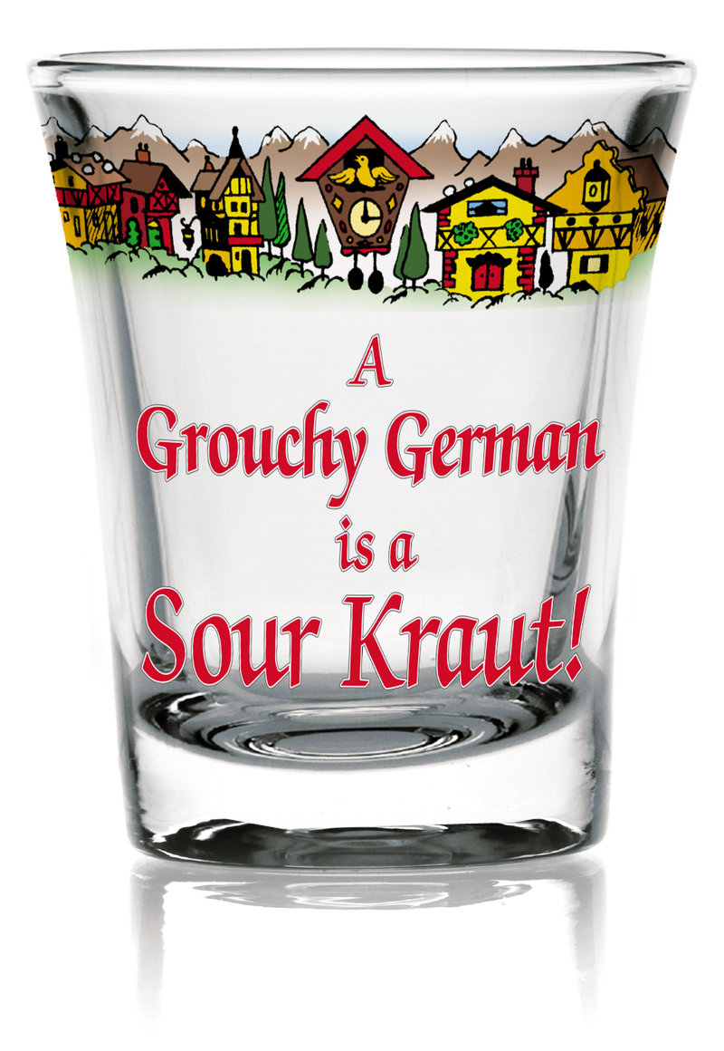 German Party Favor Shot Glass: Grouchy German Clear - OktoberfestHaus.com  - 1