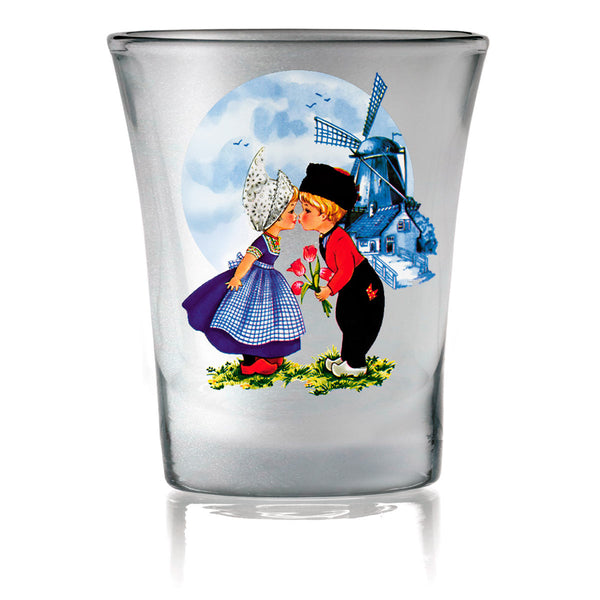 Wedding Party Favor Shot Glasses: Dutch Kiss Frosted