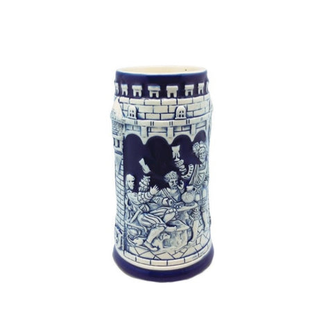 Beer Stein Germany Castle Cobalt Blue without metal Lid