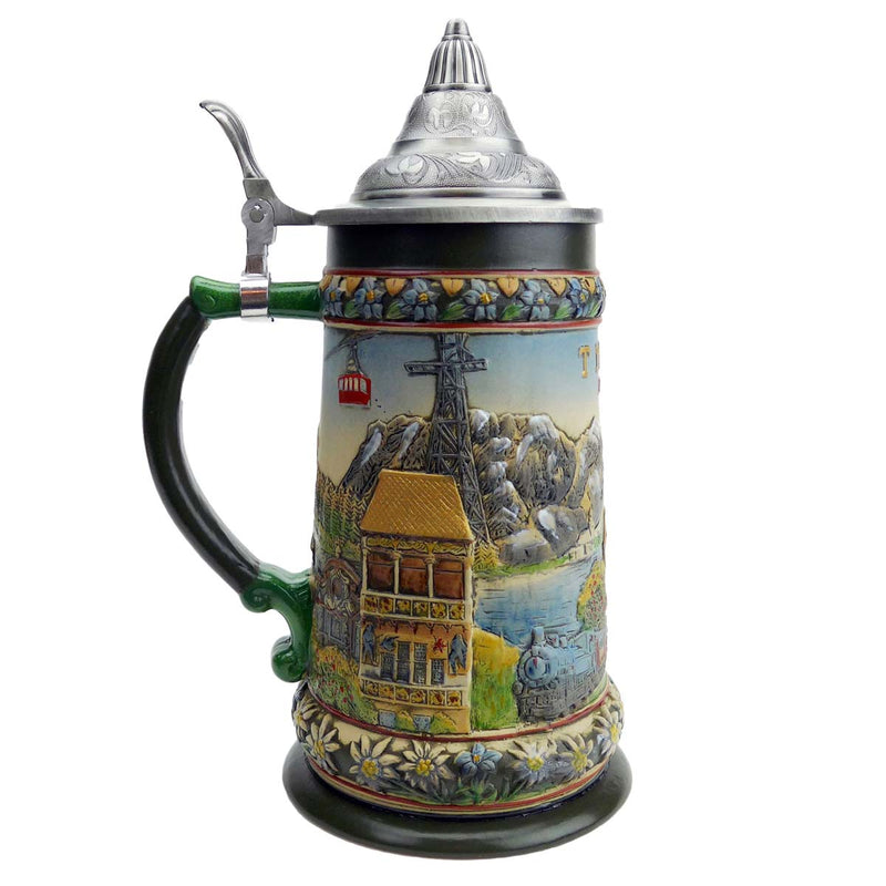 Beer Stein with Lid Tyrolean  Austrian Alps