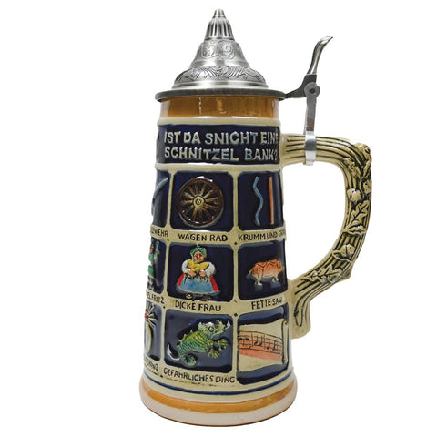 German Schnitzelbank Song .9L Lidded Beer Stein -1