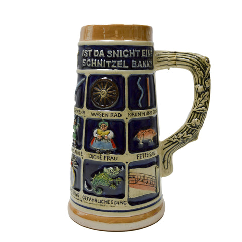 German Schnitzelbank Song .9L Ceramic Beer Stein -1