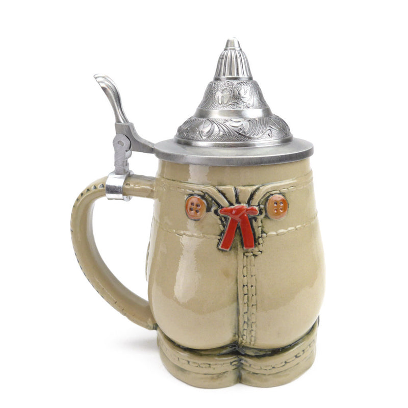 German Lederhosen Beer Stein with Lid - OktoberfestHaus.com  - 2