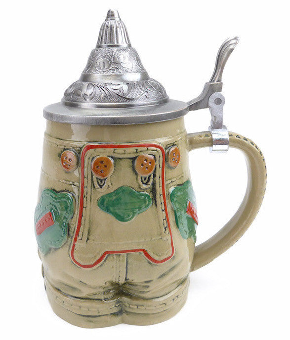 German Lederhosen Beer Stein with Lid - OktoberfestHaus.com  - 1