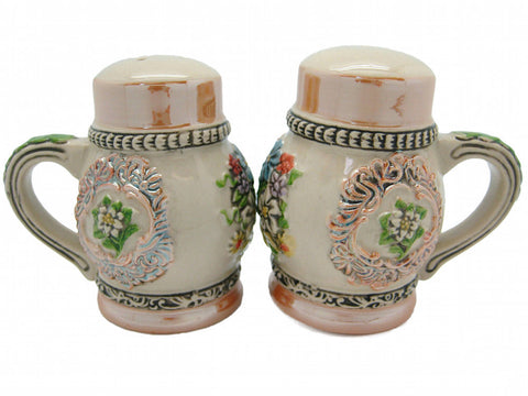 Engraved Beer Stein: Flowers Salt And Pepper Set - OktoberfestHaus.com  - 1